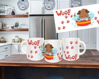 Dog taking a bath coffee mug, Dog Lover, Woof, Gift, not vinyl, dishwasher safe coffee mug