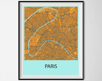 Paris Map Poster Print - Orange and Blue