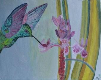 wall art, acrylic , bird, painting, humming bird