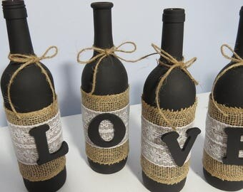 Black or White matte painted bottles, jute ribbon, lace and wooden letters