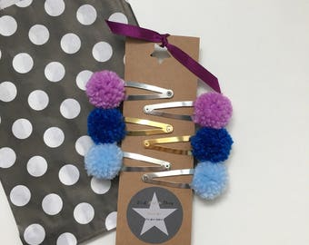 Pompom Hair Clips 4 Pairs
