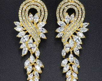 Gold crystal drop bridal earrings