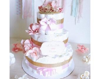 3 Tier baby girl diaper cake