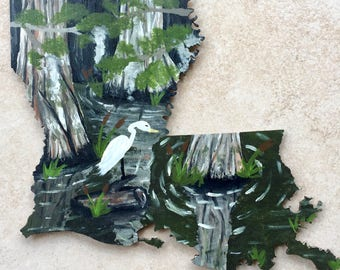 Painted Louisiana - Swamp Painting - Louisiana State - Louisiana Decor - Swamp Decor - Crane Painting - Hand Painted - Made to Order