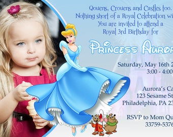 GCDigital : Princess Cinderella Disney Castle Design Digital Birthday Invitation