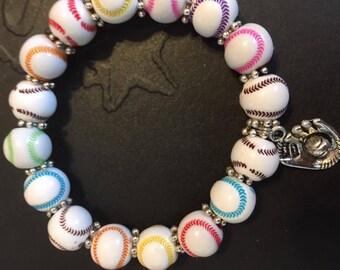 Multicolor Stretch Baseball Bracelet