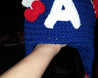Captain America inspired girl or boy beanie