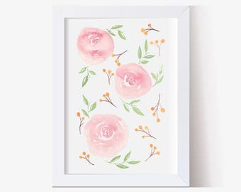 Watercolor Painting, Watercolor Picture Pink Roses, Watercolor Print, Watercolor Art, Hand Painted, Floral Pictures (5x7, 8x10, 11x14)