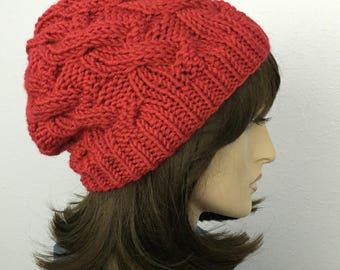Womens Chunky Knit Hat Red Slouchy Hat Women Accessories Fall Fashion Winter Hat