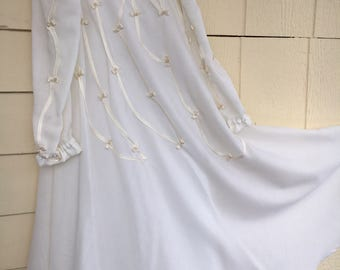EID girls white islamic dress with pearls and ribbons