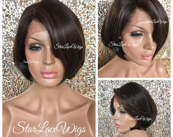 Short Straight Brown Lace Front Bob Wig - Human Hair Blend - Bob Wig - Swiss Lace - Heat Resistant Safe
