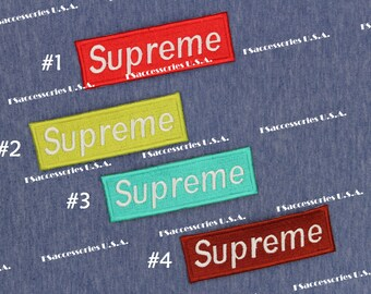 Supreme Iron On Patch 4.5'' x 1.4'' Supr Patch Badge Top-quality Embroidery Patch Hip Hop Street Art Patch Hat Decoration/Clothing/Bag  #A6