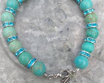 Turquoise and bling bracelet