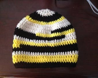 Crochet Adult Hat Black and Yellow