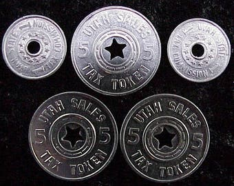 Vintage UTAH Tokens for Emergency Relief Funds and Sales Tax - Lot of 5 tokens - NICE!