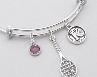 Tennis racket vintage style initial charm bracelet | tennis bangle | personalised tennis bracelet | tennis jewelry | tennis gift