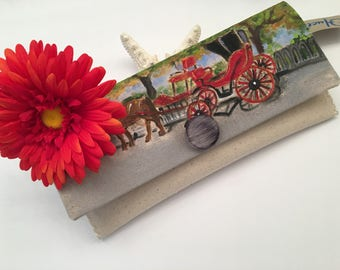 Carriage handmade clutch