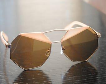 Tan Geometric Sunglasses