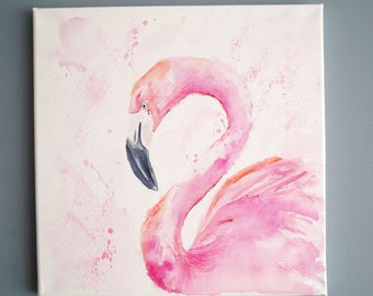 Pink Plamingo Watercolor painting canvas wall decoration