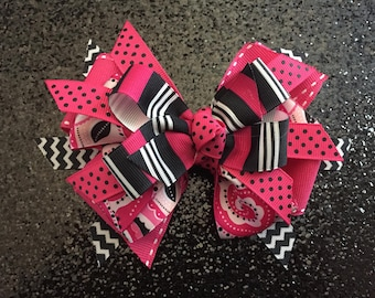 """Hot Pink, Black & Floral 5"""" Bow with Gator Clip"""