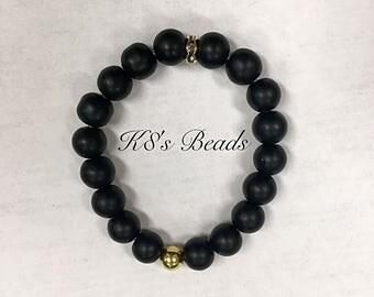 Black Onyx (Matte) Gemstone Beaded Bracelet