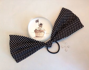 SALE!! Extra large/over sized black and white polka dot tie knot bow.