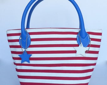Vintage Lillian Vernon Red, White and Blue Leather Bag
