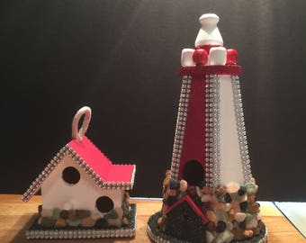 Decorative bird lighthouse  tower and house