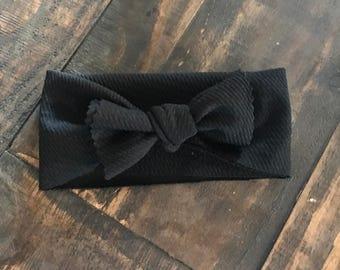 Black textured infant headband