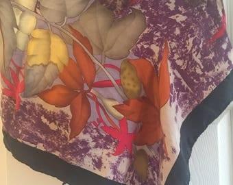 Vintage Casca Silk Scarf - Autumn Foliage - 1980's