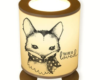 """Table lamp Fox vixen with saying """"you are so loved"""" (TL013)"""
