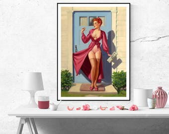 Art Frahm Red Haired Pin up Girl Caught in the Door Vintage Art Poster Print Canvas Wall Art Painting Home decor Retro pinup size A2/A3/A4