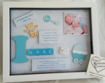 NEW BABY PERSONALISED Box Frame Keepsake Gift Little Boy or Little Girl