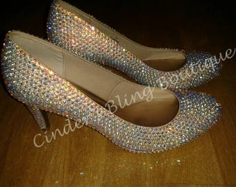 AB Crystal Cinderella bling heels wedding bridesmaid prom sparkly handmade shoes size 2 3 4 5 6 7 8