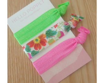 Hair elastics, hair ties, ponytail,  non tangle, boho, bracelet, fluro, floral