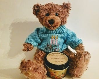 Wax Dipped Birthday Scented Bear with 4oz candle