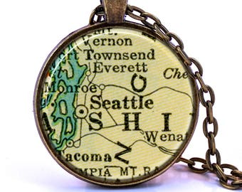 Seattle Map Pendant Necklace - Created from a 1937 map. Map Jewelry, Map Necklace, Map Pendant, Custom Jewelry, Personalized Jewelry