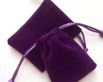 velvet pouch, jewelry bag, floss pouch, dice bag, satin pouch, packing bag, purple pouch, velour pouch, 12x10cm/4.7x3.9 inch, 2pcs