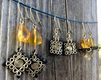 Earrings in tire recycled and amber