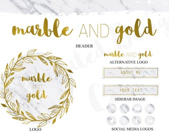 Blog Branding Kit - Marble and Gold