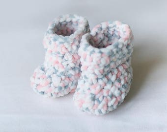 Handmade Crocheted Gray And Pink Baby Booties