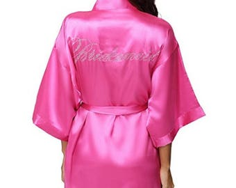 BRIDESMAID Crystal Kimono Style Robe- Pink