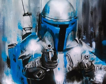 Reproduction on canvas Jango Fett 24 x 30 in