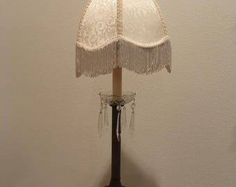 Vintage Table Lamp with Fringe and Faux Crystals
