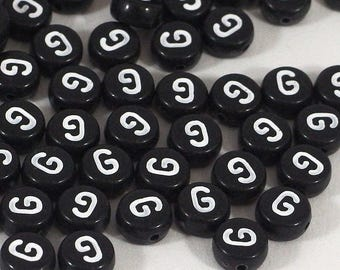 100 black letter beads *G*, alphabet beads, 7mm