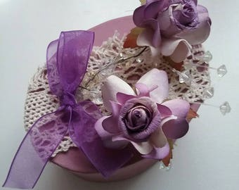 Pretty purple gift box embellished with lilac roses and lace