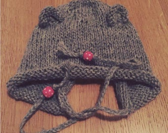 Hat boy/girl's jumper with ears in pure alpaca soft