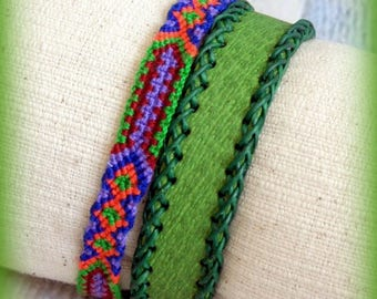 Set bracelet boho chic bohemian surfing green leather cuff multicolored woven hand tape ethnic to leather adjustable