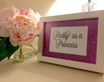 Pretty Sparkly 'Pretty As A Princess' Purple Glitter Mounted Frame - Girls Birthday Present, Baby Nursery, Baby Shower