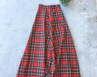 Vintage 1970's Plaid Maxi Skirt